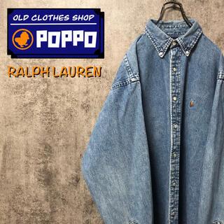 Ralph Lauren - ラルフローレン☆ワンポイント刺繍ロゴカラーポニーデニムシャツ 90s