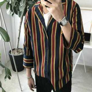 【L/ネイビー】ストライプシャツ シャツジャケット メンズ ストライプ シャツ
