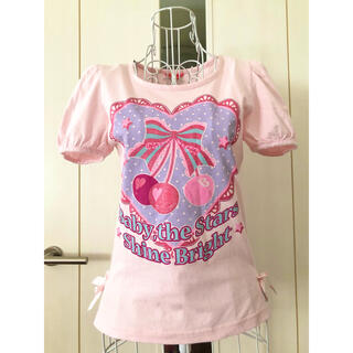 ベイビーザスターズシャインブライト(BABY,THE STARS SHINE BRIGHT)の★BABY★さくらんぼ柄パフスリーブカットソー(ピンク)(Tシャツ(半袖/袖なし))