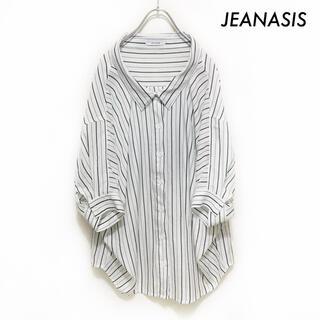 ジーナシス(JEANASIS)のJEANASIS ジーナシス★ストライプ柄 半袖シャツ ブラウス 変形(シャツ/ブラウス(半袖/袖なし))