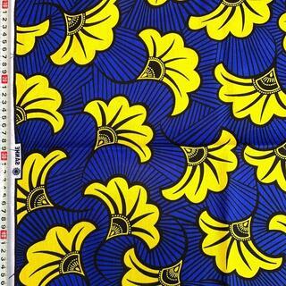 14 ブルー リーブス アフリカ布 50cm x 110cm バオバブ神戸(生地/糸)