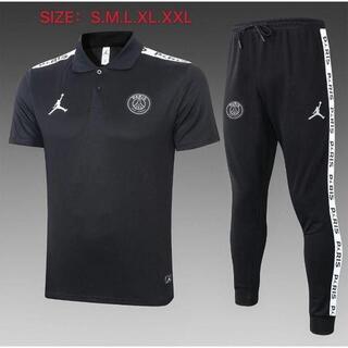 パリ サンジェルマン カジュアルなサッカーウェア 上下スーツ 黒いユニホーム