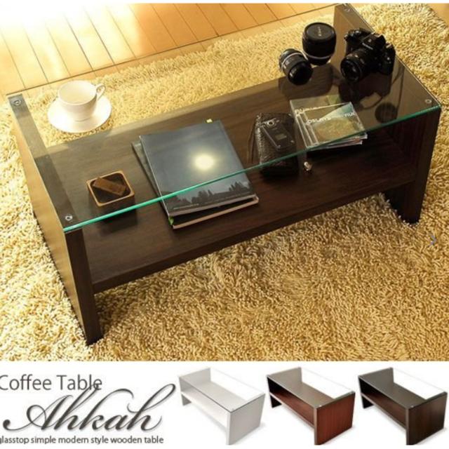 テーブル ローテーブル リビングテーブル おしゃれ 北欧 ガラス 木製 インテリア/住まい/日用品の机/テーブル(ローテーブル)の商品写真