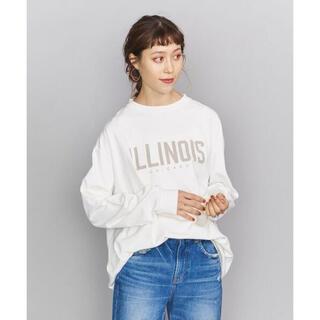 ビューティアンドユースユナイテッドアローズ(BEAUTY&YOUTH UNITED ARROWS)の BY ロゴプリントロングスリーブTシャツ  ホワイト(Tシャツ(長袖/七分))