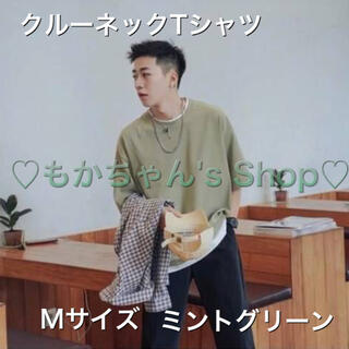 【Mサイズ】レイヤード 夏 Tシャツ メンズ 丸首 クルーネック グリーン