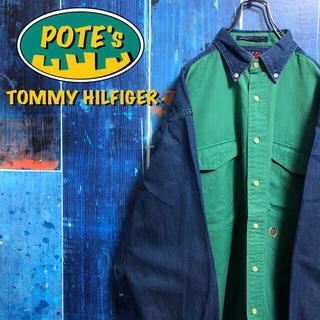 TOMMY HILFIGER - 【トミーヒルフィガー】オールド刺繍ロゴダブルポケットチノ切替デニムシャツ 90s