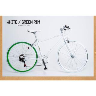 クロスバイク シマノ6段変速 700×28c WH/グリーン  CL266(自転車本体)
