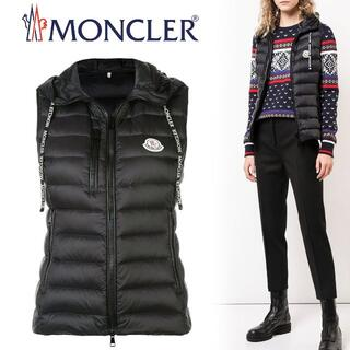 MONCLER - L1 MONCLER ブラック ナイロン ロゴ ダウンベスト size 0
