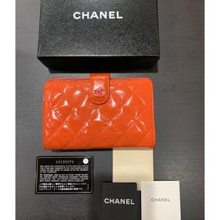 CHANEL - 良品 シャネル 二つ折り財布  パテント ブリリアント ピンク カード/箱