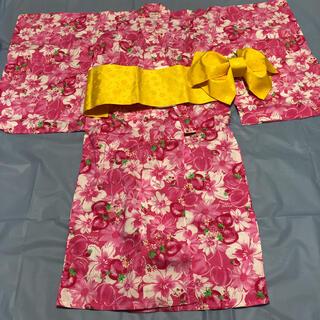 メゾピアノ(mezzo piano)のメゾピアノ   ピンク花柄浴衣 Mサイズ(甚平/浴衣)
