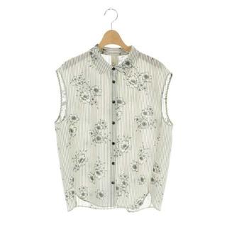 IENA - イエナ ストライプフラワーノースリーブシャツ ブラウス 前開き 花柄 黒 白