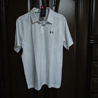UNDER ARMOUR - アンダーアーマー:メンズ:半袖ポロシャツ:Lサイズ:白/シルバーロゴ
