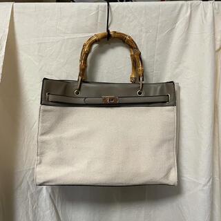 キャセリーニ(Casselini)の異素材ミックス バンブーハンドルデザインバッグ(ハンドバッグ)