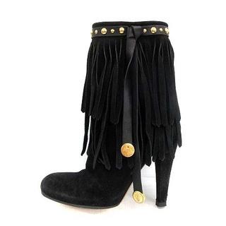 グッチ(Gucci)のグッチ ショートブーツ フリンジ ハイヒール ラウンドトゥ 37 24cm 黒(ブーツ)
