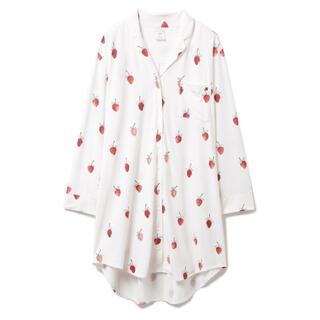ジェラートピケ(gelato pique)のジェラートピケ ジェラピケ ストロベリーモチーフシャツドレス OWHT ホワイト(ルームウェア)