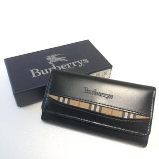 バーバリー(BURBERRY)のBURBERRYS バーバリー 3連キーケース ブラック レザー ノバチェック(キーケース)