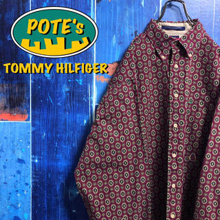 TOMMY HILFIGER - 【トミーヒルフィガー】オールド刺繍ロゴサークルペイズリー柄総柄シャツ 90s