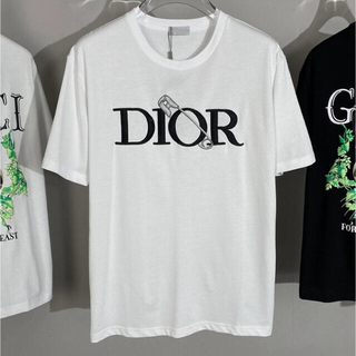 ディオール(Dior)の新品 未使用 ロゴ DIOR ディオール Tシャツ トップス 刺繍 黒 白 (Tシャツ(半袖/袖なし))