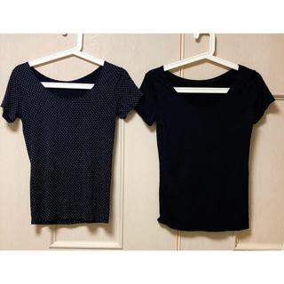 UNIQLO - ユニクロ UNIQLO エアリズム M インナー Tシャツ 黒/ブラック 水玉