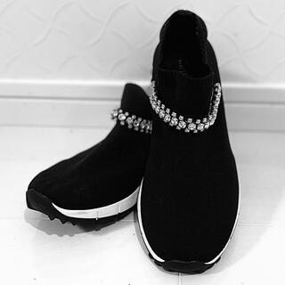 JIMMY CHOO - JIMMY CHOO ジミーチュウ スニーカー 靴 ブラック 黒 スワロフスキー