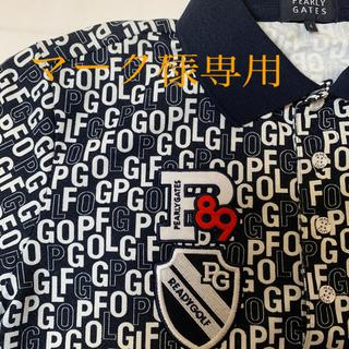 PEARLY GATES - パーリーゲイツメンズ半袖PG プリントポロシャツ 黒 4サイズ