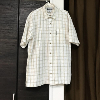 Columbia - コロンビアColumbia半袖ゆったり花柄チェック着丈83身幅56シャツ