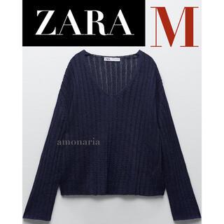 ZARA - 【7/29まで限定出品*新品】ZARA リネンブレンドニットセーター 透かし編み