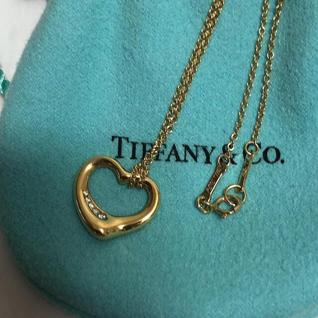 Tiffany & Co.(ティファニー)のティファニー オープンハートダイヤモンドネックレス k18 美品 レディースのアクセサリー(ネックレス)の商品写真