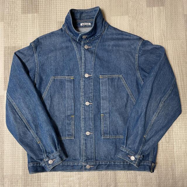 人気品! AURALEE オーラリー デニム ジャケット インディゴ 3 M 青 メンズのジャケット/アウター(Gジャン/デニムジャケット)の商品写真