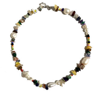 Multicolored stone and perl necklaces