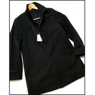 メンズ ビジネスコート S ステンカラーコート 黒(ステンカラーコート)