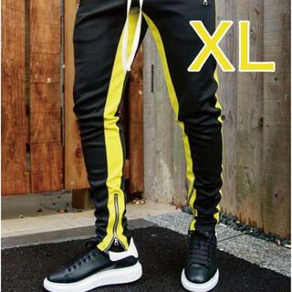 ラインパンツ ジョガーパンツ スウェット 黒 ブラック 黄 イエロー XL(その他)