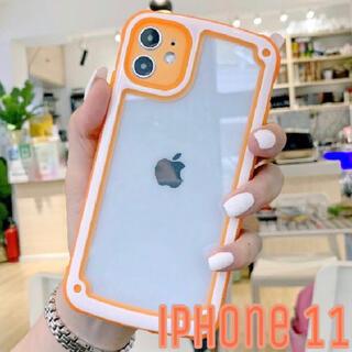 シンプル フレーム iPhone用ケース iPhone11 ネオンオレンジ(iPhoneケース)
