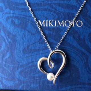 ミキモト(MIKIMOTO)のMIKIMOTOミキモトペンダント パールネックレス オープンハート K18WG(ネックレス)