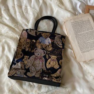 PANAMA BOY - vintageレトロかわいいくまちゃんゴブラン刺繍バッグ