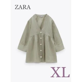 ZARA - 【新品・未使用】ZARA リネンブレンド ブラウス XL