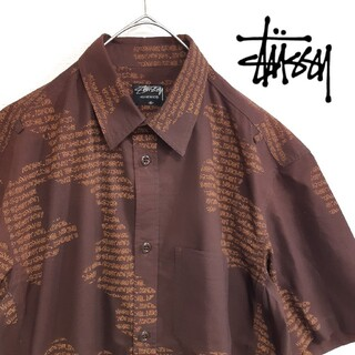 STUSSY - 【希少】STUSSY ショーンフォント 総柄 半袖 シャツ TOKYO M