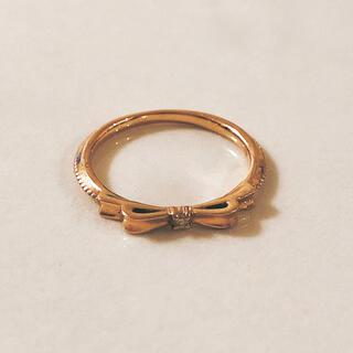 【極美品】ダイヤモンド リボン ピンキーリング K18 5号 ピンクゴールド