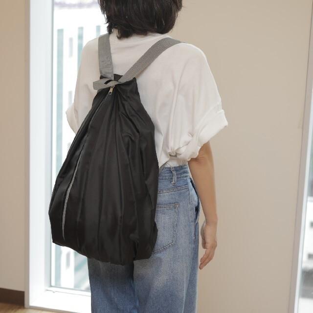2wayエコバッグ リュック ショルダーバッグ トートバッグ黒 レディースのバッグ(リュック/バックパック)の商品写真