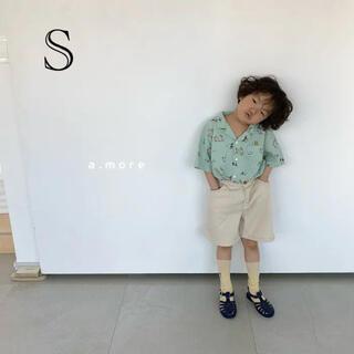 韓国子供服 A more フラワーシャツ