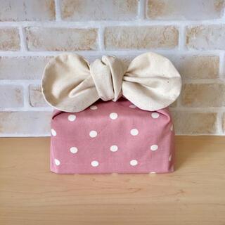 【リボンのお弁当袋】保冷保温  水玉・ドット(ピンク)×オフホワイト