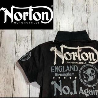 Norton - 【Norton】ノートン 半袖ポロシャツ ブラック 刺繍 プリント