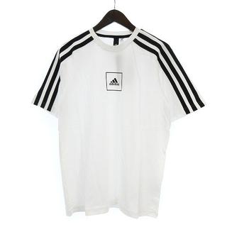 アディダス(adidas)の未使用品 アディダス Tシャツ 3ストライプス テープ 半袖 ロゴ 白 黒 L(Tシャツ/カットソー(半袖/袖なし))