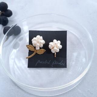pearl&vintage flower earrings