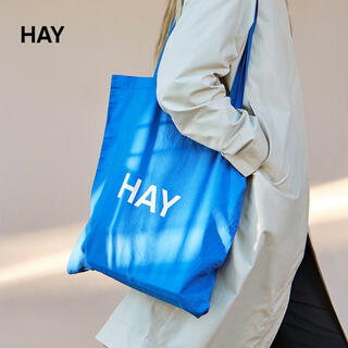 HAY TOTE ブルー白ロゴ トートバッグ エコバッグ 北欧