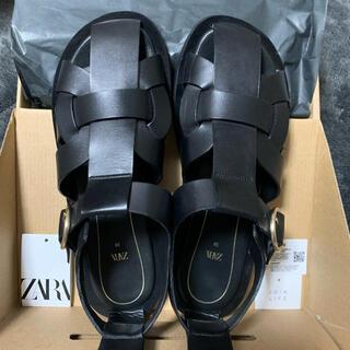 ZARA - 公式オンライン購入 ZARA レザーフラットケージサンダル 38 グルカサンダル