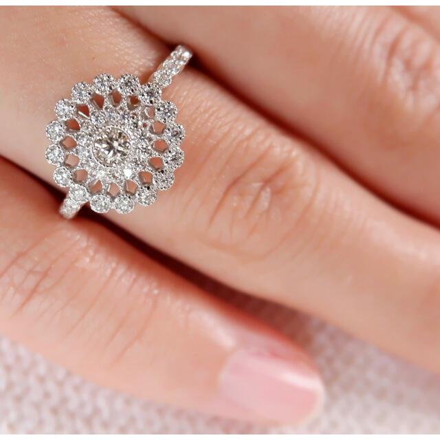 Pt950 ダイヤモンド 0.34ct リング プラチナ 透かし ミル打ち  レディースのアクセサリー(リング(指輪))の商品写真