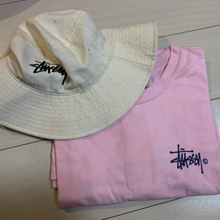 STUSSY - ステューシー stussy tシャツ ピンク ネイビー ロゴ バケットハット