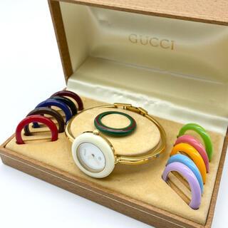 Gucci - 良品☆ 新品電池 GUCCI  Mサイズ チェンジベゼル レディース腕時計