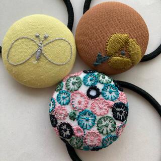 mina perhonen - ミナペルホネン ヘアゴム handmade くるみぼたんセット オレンジ ブルー